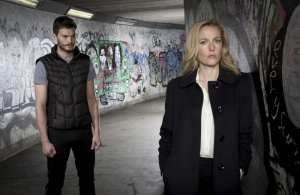 "Jamie Dornan and Gillian Anderson of ""The Fall"""
